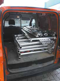Esempio di ponteggio trasportato su minifurgone