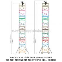 Ponteggio in alluminio Argo plus 10 campate con base - misure